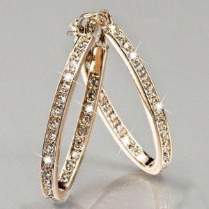 Jewelry - 925 SILVER GEMSTONE YELLOW GOLD HOOP EARRINGS